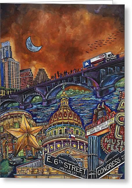 Austin Montage Greeting Card by Patti Schermerhorn