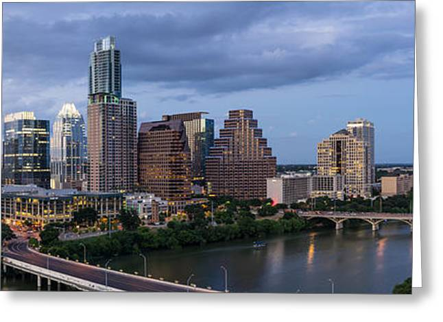 First-lady Greeting Cards - Austin Night Cityscape From Above  Greeting Card by Tod and Cynthia Grubbs