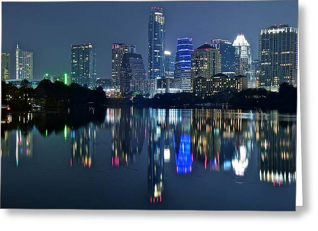 Austin Night Reflection Greeting Card by Frozen in Time Fine Art Photography