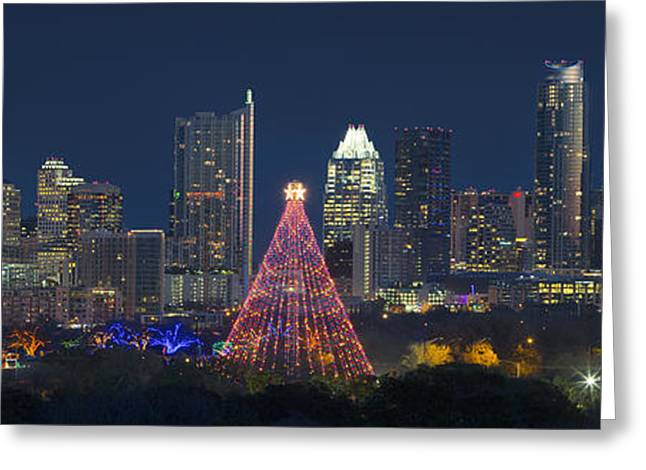 Austin Panorama Of The Trail Of Lights And Skyline Greeting Card by Rob Greebon