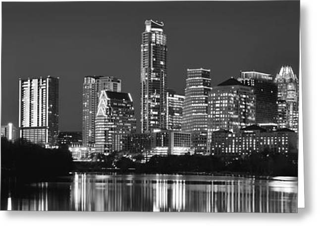 Panoramic Photographs Greeting Cards - Austin Skyline at Night Black and White BW Panorama Texas Greeting Card by Jon Holiday