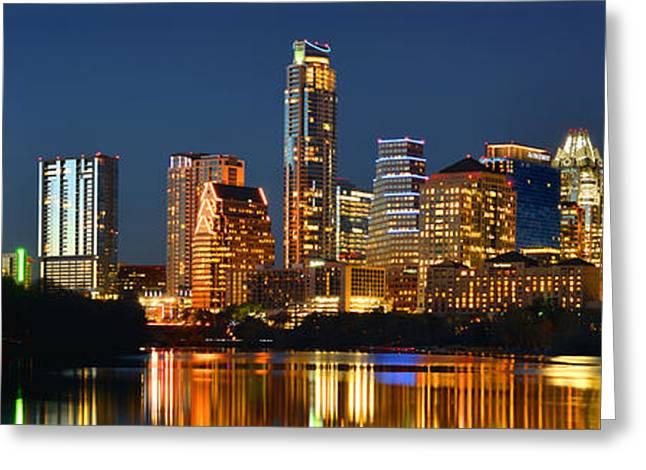 Austin Skyline at Night Color Panorama Texas Greeting Card by Jon Holiday
