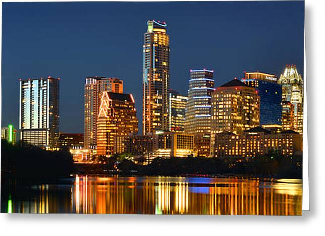 Dusk Greeting Cards - Austin Skyline at Night Color Panorama Texas Greeting Card by Jon Holiday