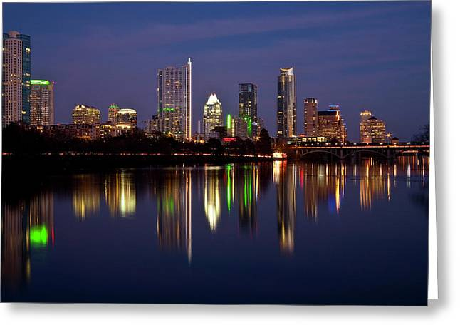 Night-scape Greeting Cards - Austin Skyline Greeting Card by Mark Weaver