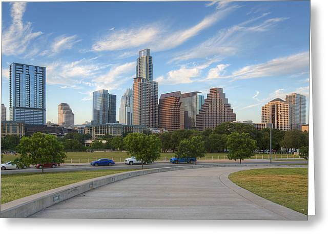 Downtown Austin Greeting Cards - Austin Skyline on a Summer Afternoon 1 Greeting Card by Rob Greebon