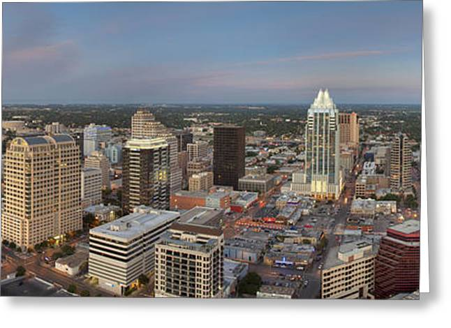 Ut Tower Greeting Cards - Austin Skyline Panorama Looking Northeast Greeting Card by Rob Greebon