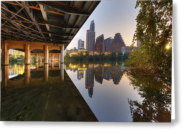 First-lady Greeting Cards - Austin Skyline Prints - the view from the First Street Bridge an Greeting Card by Rob Greebon