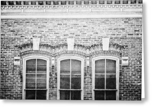 Austin Architecture Greeting Cards - Austin Texas 4th Street Windows in Black and White Greeting Card by Lisa Russo