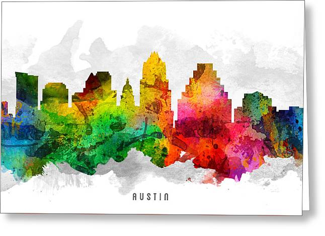 Austin Texas Cityscape 12 Greeting Card by Aged Pixel