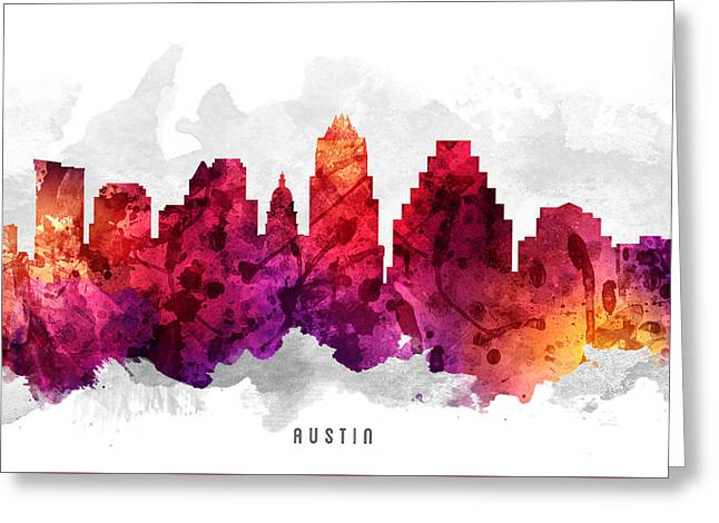 Austin Texas Cityscape 14 Greeting Card by Aged Pixel