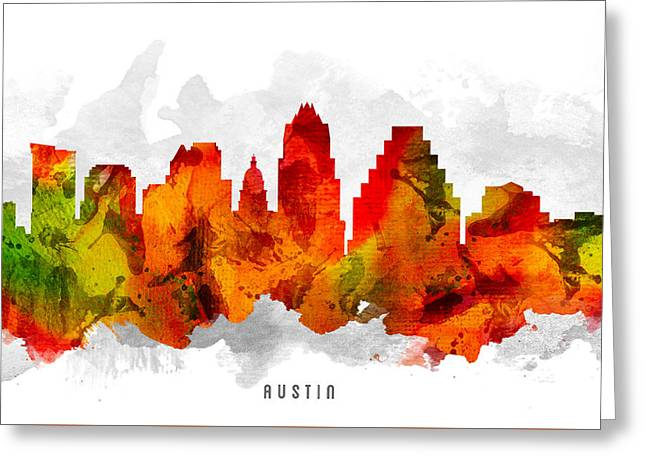 Austin Texas Cityscape 15 Greeting Card by Aged Pixel