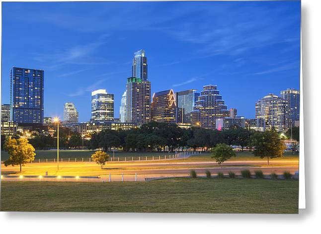 Downtown Austin Greeting Cards - Austin Texas Cityscape at Twilight 1 Greeting Card by Rob Greebon