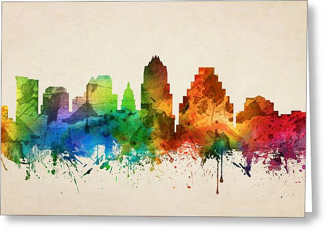 Austin Texas Skyline 05 Greeting Card by Aged Pixel