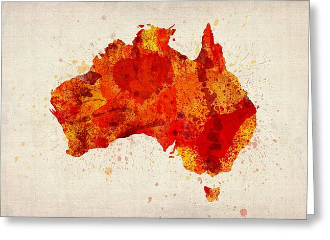 Wales Digital Greeting Cards - Australia Watercolor Map Art Print Greeting Card by Michael Tompsett