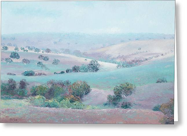 Lounge Paintings Greeting Cards - Australian Country Landscape painting Greeting Card by Jan Matson