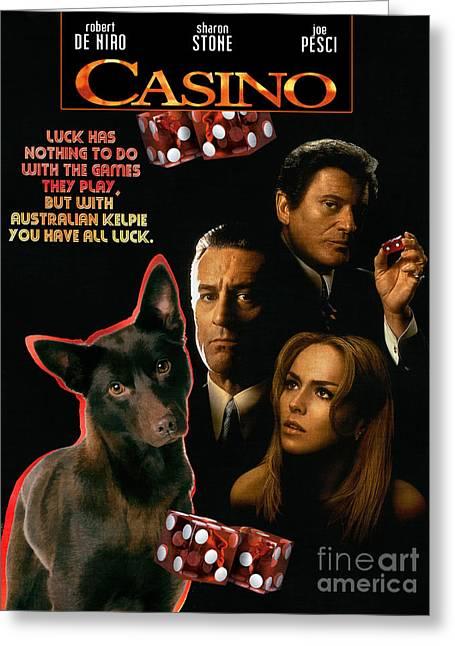 Australian Kelpie -  Casino Movie Poster Greeting Card by Sandra Sij