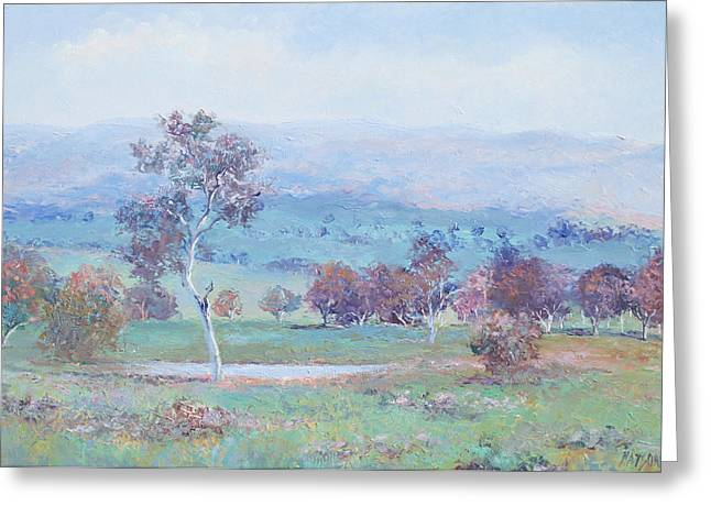 Autumn Landscape Paintings Greeting Cards - Australian Landscape Greeting Card by Jan Matson