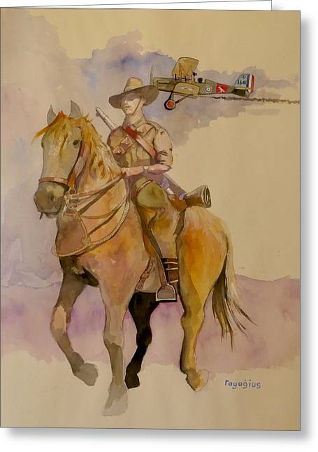 Australian Light Horse Regiment. Greeting Card by Ray Agius