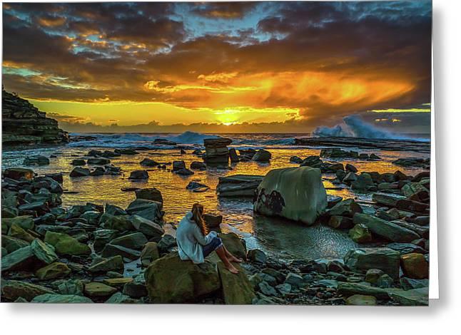 Australian Pacific Dawn Greeting Card by Mark Christian