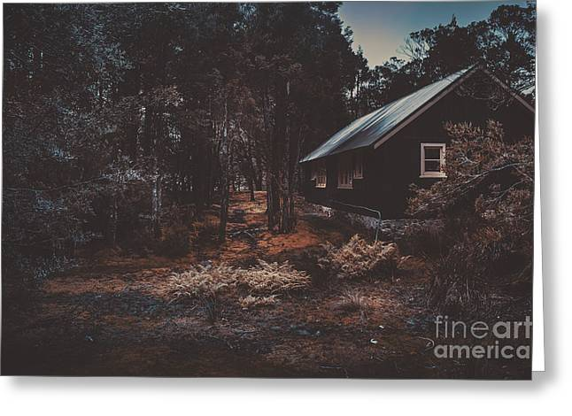 Cradle-mountain Greeting Cards - Australian shack in a dense autumn forest Greeting Card by Ryan Jorgensen