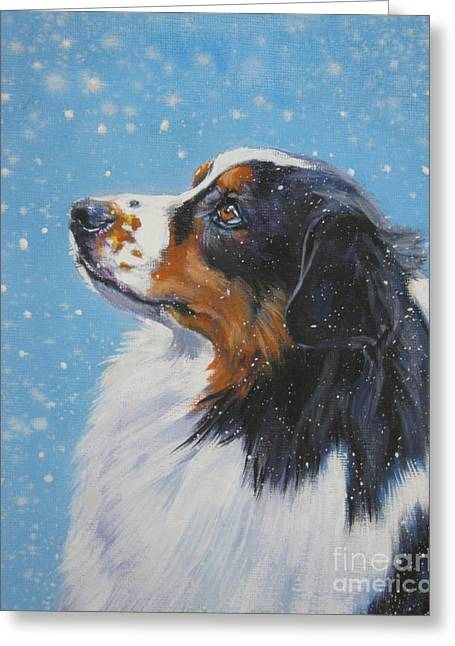 Christmas Dogs Greeting Cards - Australian Shepherd in snow Greeting Card by L A Shepard