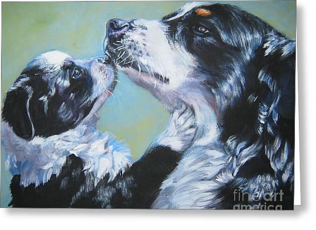 Australian Shepherd Greeting Cards - Australian Shepherd Mom and Pup Greeting Card by Lee Ann Shepard