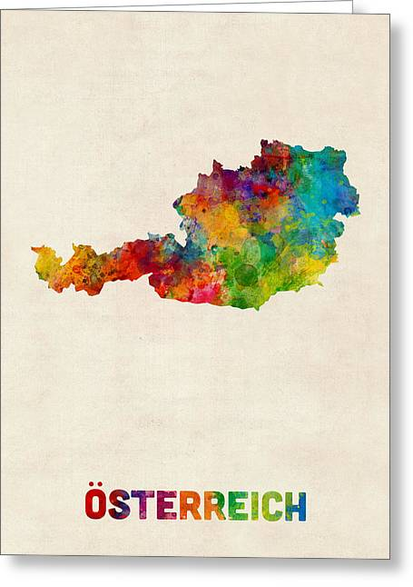 Austria Greeting Cards - Austria Watercolor Map Greeting Card by Michael Tompsett
