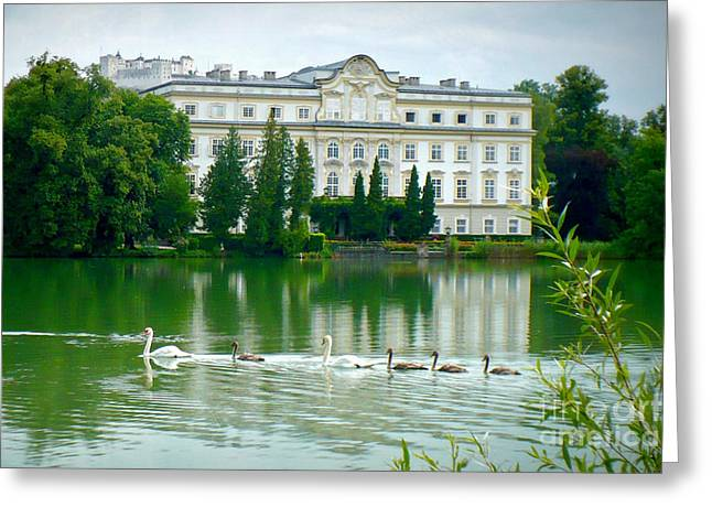 Salzburg Greeting Cards - Austrian Chateau with Lake and Swans Greeting Card by Carol Groenen