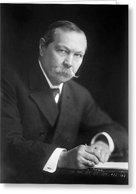 1950s Portraits Greeting Cards - Author Sir Arthur Conan Doyle Greeting Card by Underwood Archives