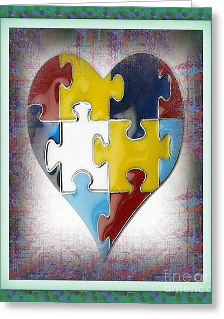 Melton Greeting Cards - Autism--The Puzzle of our Autistic Heart Greeting Card by Don Melton
