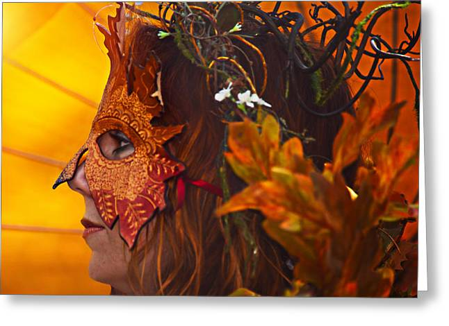 Female Mask Greeting Cards - Autmun queen Greeting Card by Camille Lopez