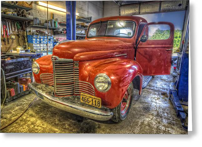 Center Part Greeting Cards - Auto Service Garage Greeting Card by Debra and Dave Vanderlaan