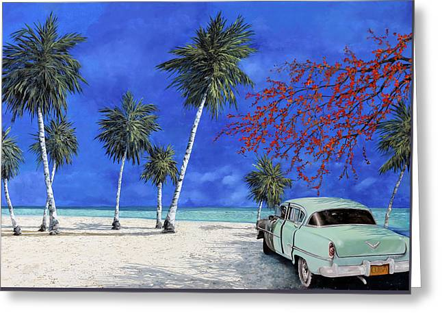 Beach White Greeting Cards - Auto Sulla Spiaggia Greeting Card by Guido Borelli