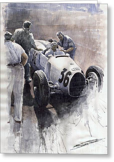 Sports Greeting Cards - Auto Union B type 1935 Italian GP Monza B Rosermeyer Greeting Card by Yuriy  Shevchuk
