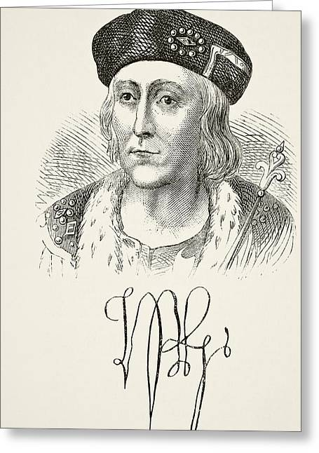Henry Drawings Greeting Cards - Autograph And Portrait Of King Henry Greeting Card by Ken Welsh