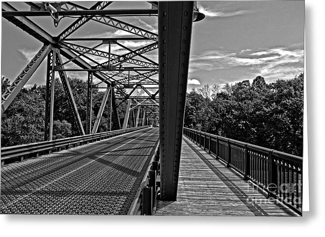 Stockton Greeting Cards - Automobile and Foot Bridge  Greeting Card by Tom Gari Gallery-Three-Photography