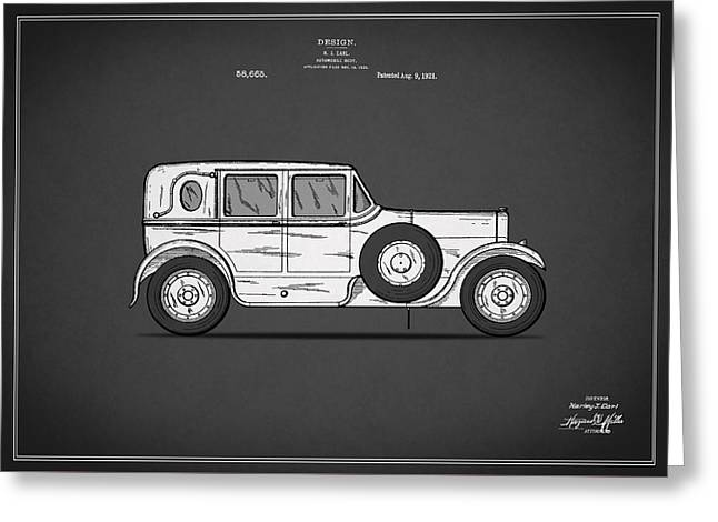 Vintage Car Poster Greeting Cards - Automobile Patent 1921 Greeting Card by Mark Rogan