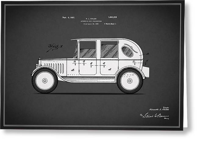 Vintage Car Poster Greeting Cards - Automobile Patent 1927 Greeting Card by Mark Rogan
