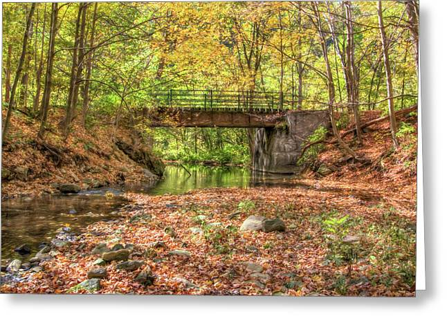 Roaring Falls Greeting Cards - Autum Stream with Bridge Greeting Card by Randy Steele