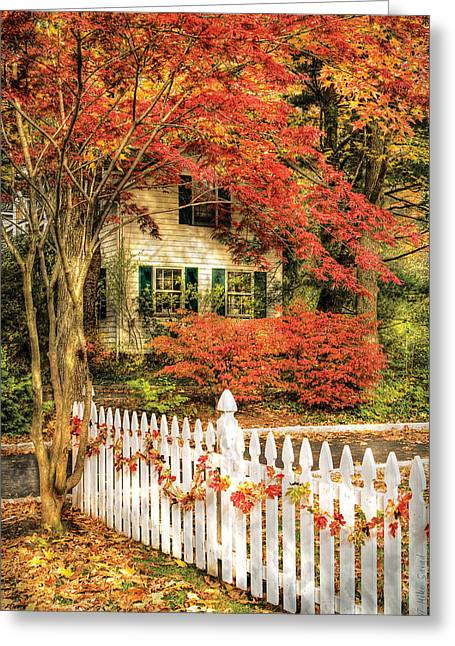 Psychedelic Van Greeting Cards - Autumn - House - Festive  Greeting Card by Mike Savad