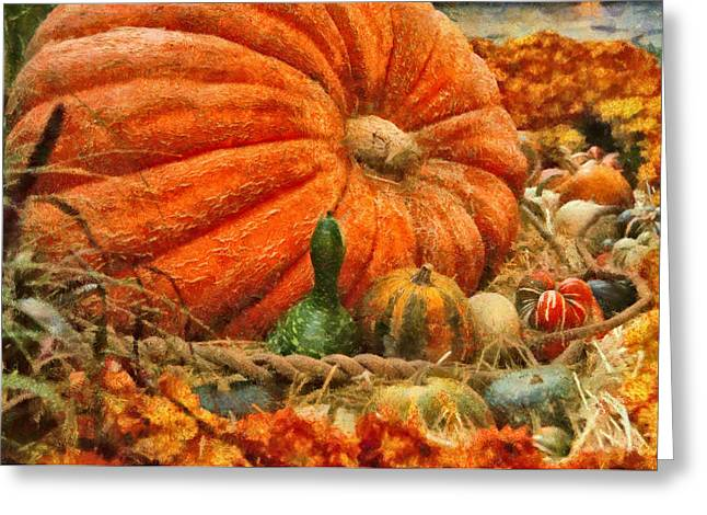 Autumn - Pumpkin - Great Gourds Greeting Card by Mike Savad