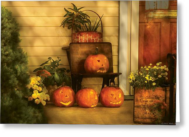 Hallows Eve Greeting Cards - Autumn - Pumpkin - The Jolly Bunch Greeting Card by Mike Savad