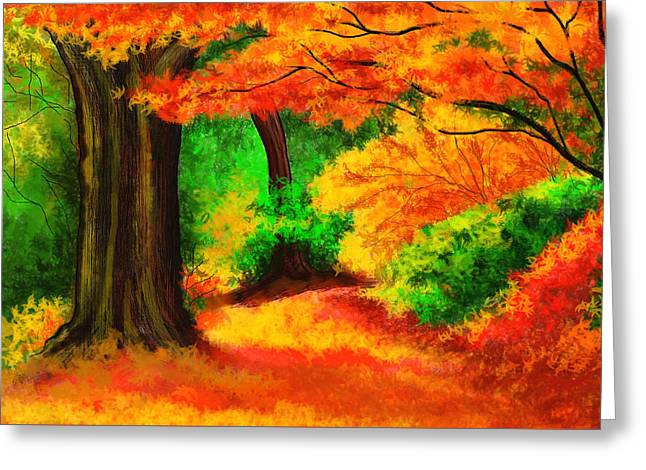 Photos Of Autumn Digital Greeting Cards - Autumn - A magic of nature Greeting Card by Amar Singha
