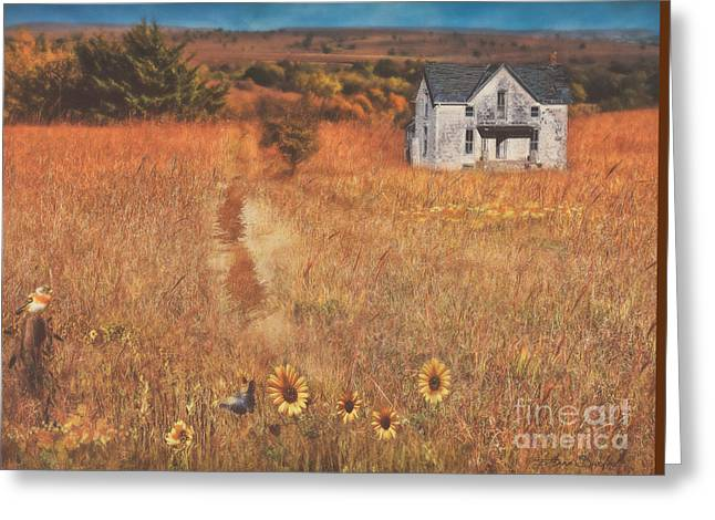 The Houses Greeting Cards - Autumn Abandoned House In The Prairie Greeting Card by Anna Surface