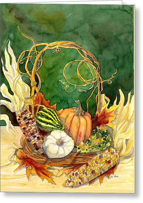 Interior Still Life Paintings Greeting Cards - Autumn Abundance - Fall Harvest Basket Indian Corn Pumpkin Gourds Greeting Card by Audrey Jeanne Roberts