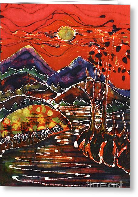 Orange Tapestries - Textiles Greeting Cards - Autumn Adirondack Sunset Greeting Card by Carol Law Conklin