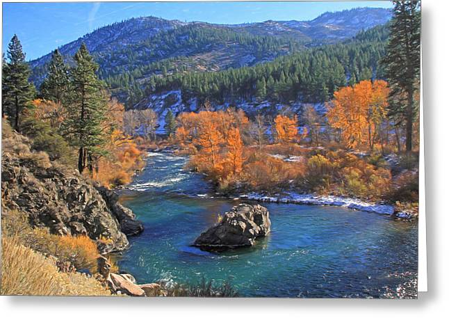 Canon 7d Greeting Cards - Autumn Along the Truckee River Greeting Card by Donna Kennedy