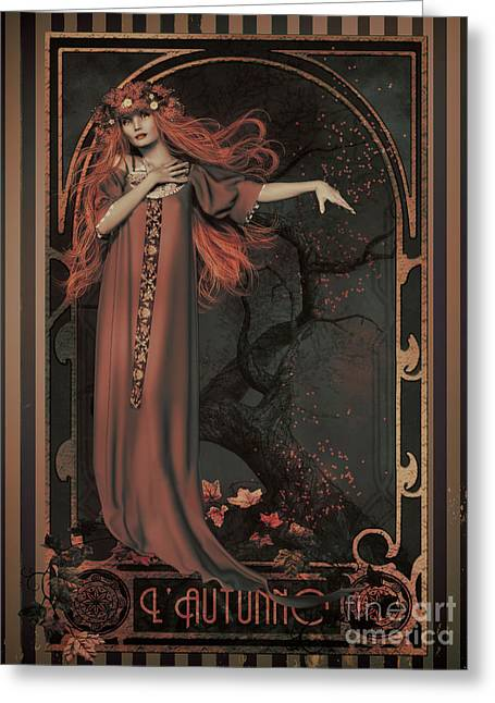 Autumn Art Nouveau  Greeting Card by Shanina Conway