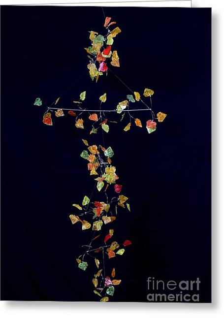 Hanging Mobile Greeting Cards - Autumn Aspen Isoceles II Greeting Card by Mattie O