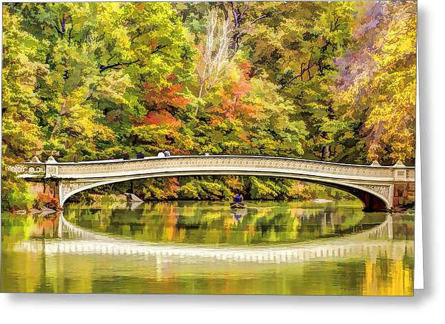 Pond In Park Greeting Cards - Autumn at Central Park Bow Bridge Greeting Card by Geraldine Scull